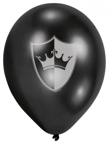 6 Ballons latex Chevalier noir 23 cm-2