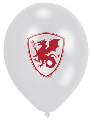 6 Ballons latex Chevalier noir 23 cm-3