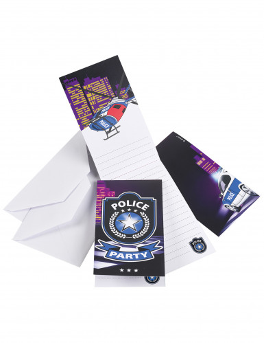 8 Cartes d'invitation Police