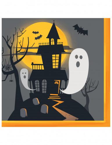 16 Serviettes en papier Halloween Manoir Hanté 33 cm