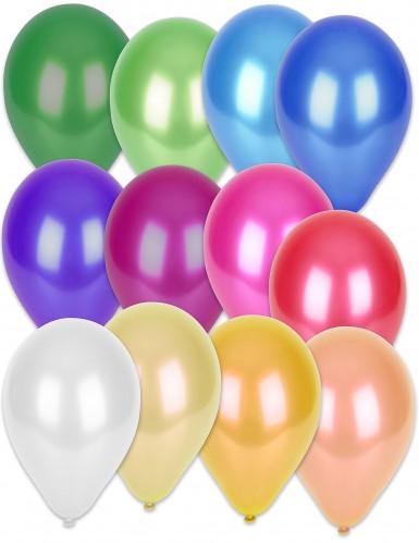 50 Ballons multicolores métallisés 30 cm