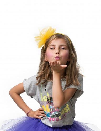 Serre-tête noeud en tulle jaune fille-1