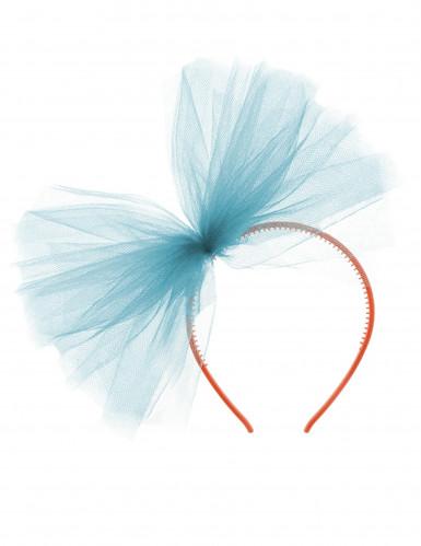 Serre-tête nœud en tulle turquoise