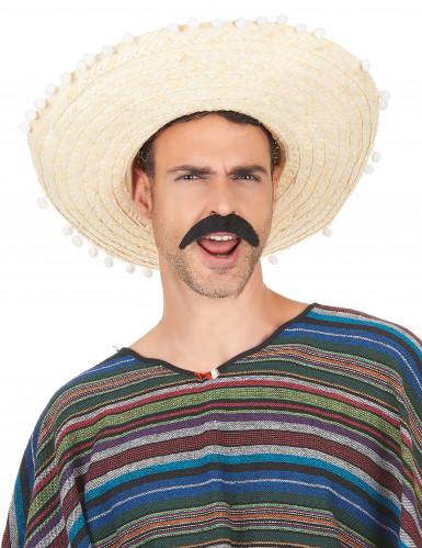 Sombrero écru à bordure pompons adulte-1
