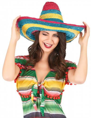 Sombrero Mexicain rouge-vert-jaune adulte-1