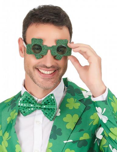 Lunettes pailletées vertes trèfle Saint-Patrick adulte-2