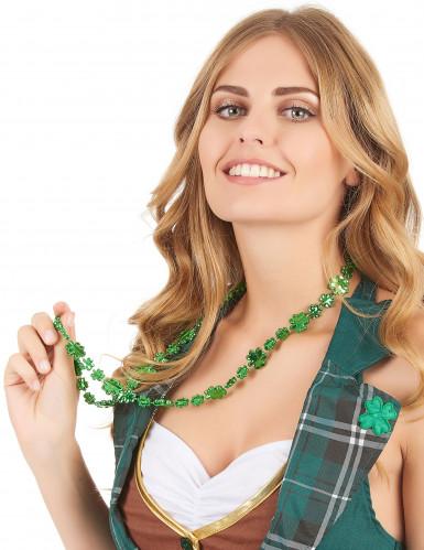 Collier vert trèfle brillant Saint Patrick adulte-1