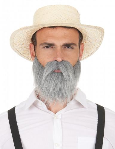 Moustache et barbe grises adulte