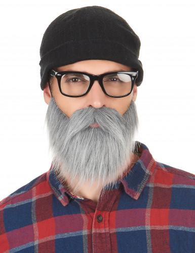 Moustache et barbe grises adulte-1