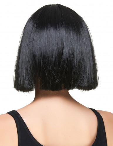 Perruque carré noire à frange femme-1