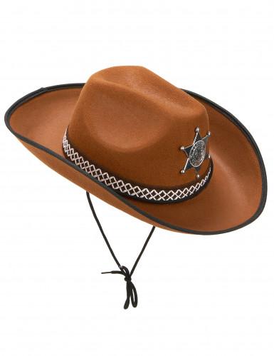Chapeau sherif marron clair adulte