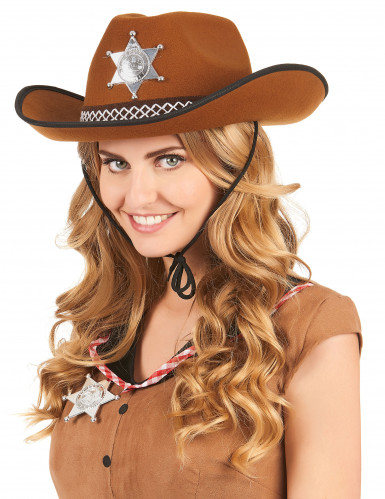 Chapeau sherif marron clair adulte-1