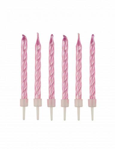 12 Bougies d'anniversaire rose nacrées