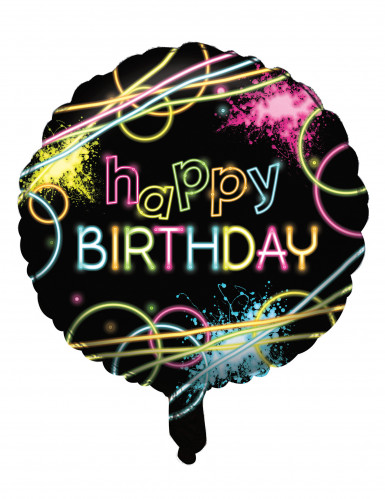 Ballon aluminium Happy birthday Fluo Party 45 cm