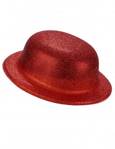 Chapeau melon plastique pailleté rouge adulte