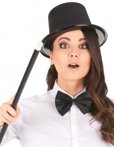 Chapeau haut de forme plastique pailleté noir adulte-1