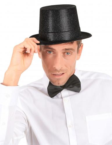 Chapeau haut de forme plastique pailleté noir adulte-2