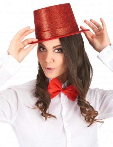 Chapeau haut de forme plastique pailleté rouge adulte-1