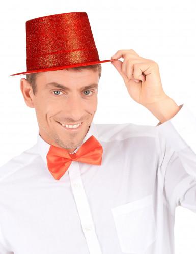 Chapeau haut de forme plastique pailleté rouge adulte-2