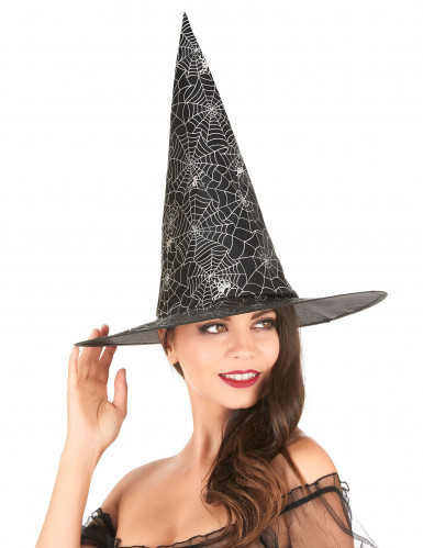 Chapeau de sorcière noir avec toile d'araignée blanche adulte-1