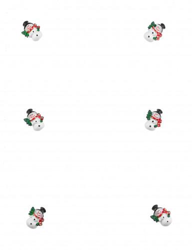 6 Bonhommes de neige adhésifs 3 cm-1