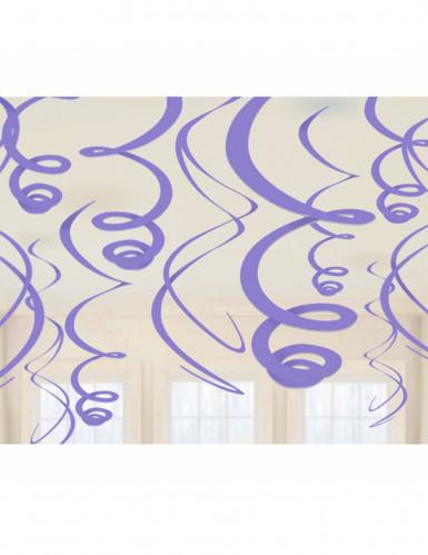12 Décorations spirales violettes