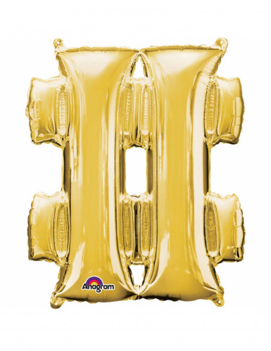 Ballon aluminium symbole # doré 33cm