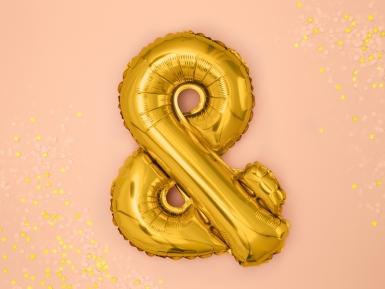 Ballon aluminium symbole & doré 35 cm-1