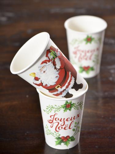 10 Gobelets en carton Joyeux Noël 200 ml-1