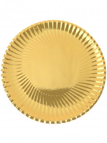 10 Assiettes en carton métallisées or 23 cm
