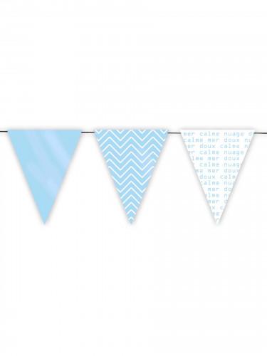 Guirlande 12 fanions bleus Sweet 3 m 12 x 15 cm