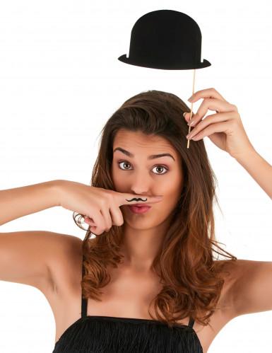 Kit Photobooth 6 chapeaux melons noirs-2