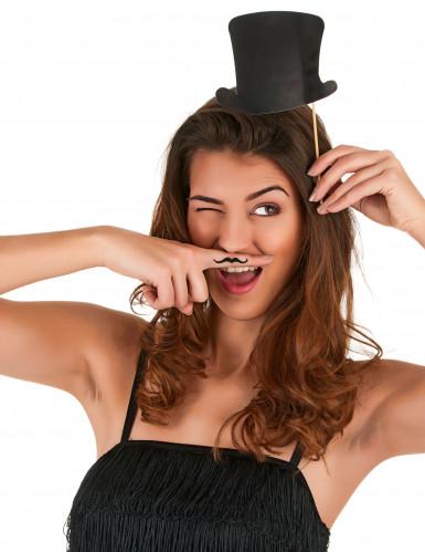 Kit photobooth 6 chapeaux haut de forme noirs-2