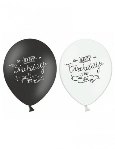 6 Ballons Happy Birthday noir et blanc 30 cm