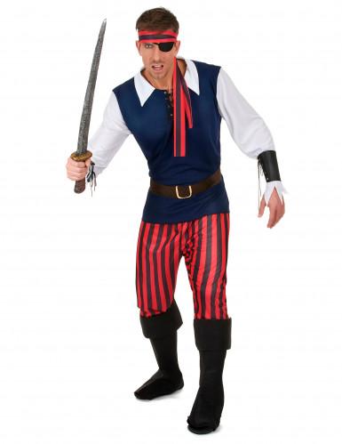 Déguisement Pirate rayures rouges et noires homme
