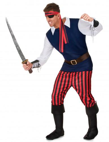 Déguisement Pirate rayures rouges et noires homme-1
