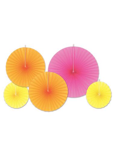 5 Rosaces en papier fluo oranges, jaunes et roses