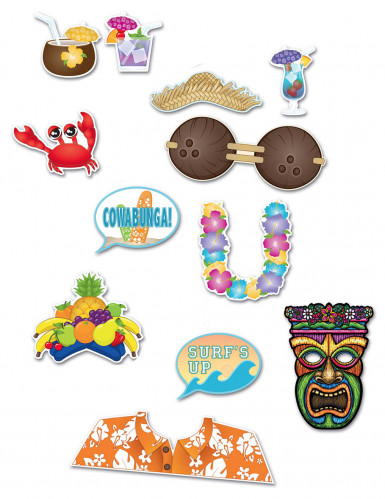 Kit photobooth Hawaï 12 accessoires