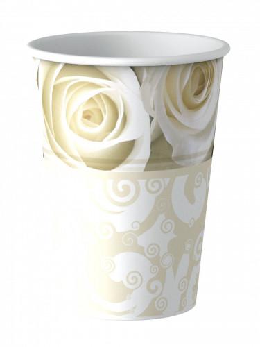 8 Gobelets en carton roses blanches 25cl
