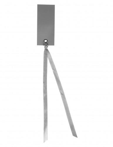 12 Marque-places rectangle avec ruban gris 3 x 7 cm