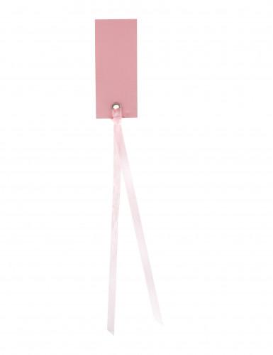12 Marque-places rectangle avec ruban rose 3 x 7 cm