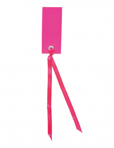 12 Marque-places rectangle avec ruban fuchsia 3 x 7 cm