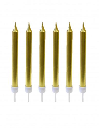 10 Bougies d'anniversaire dorée métallisées 7 cm