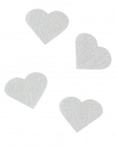 24 Confettis cœurs en lin 5,5 x 4 cm