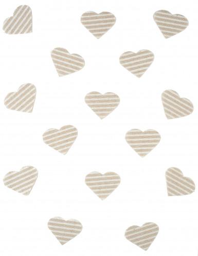 24 Confettis cœur en lin rayé 5,5 x 4 cm-1