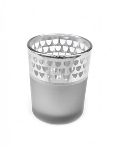 Photophore en verre mat argenté 6,5 x 5,5 cm