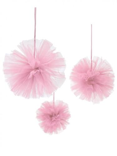 3 Pompons en tulle rose à suspendre