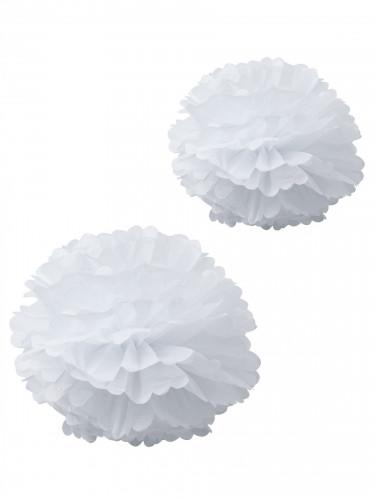2 Pompons en papier de soie blancs 40 et 50cm