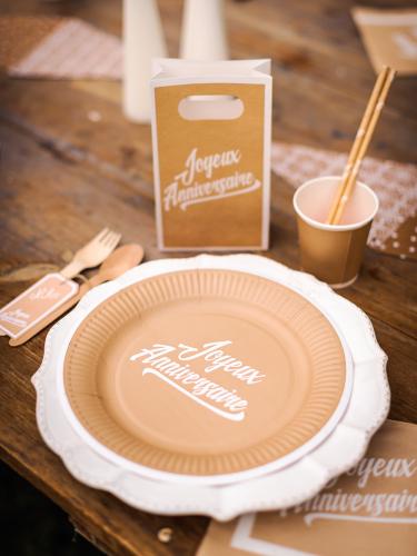 12 Assiettes en carton anniversaire kraft & blanc 23 cm-1