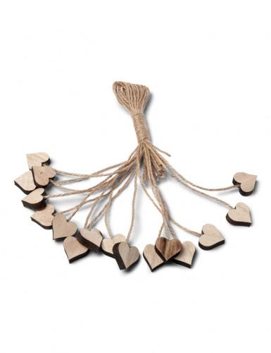 16 Coeurs en bois avec ficelle